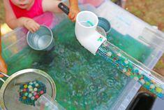 Water Sensory PLay with Tapioca Pearls