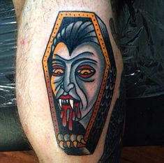 Vampire Coffin Tattoo by Luke Jinks Traditional Tattoo Vampire, Traditional Tattoo Halloween, Traditional Tattoo Design, Traditional Tattoos, Creepy Tattoos, Badass Tattoos, Horror Tattoos, Leg Tattoos, Tatoos