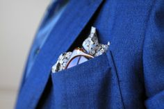A geometric patterned pocket square.