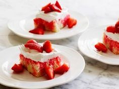 Strawberry Poke Cake : This beloved dessert consists of not-too-sweet buttermilk cake and very lightly sweetened whipped cream. The cake tastes best only slightly chilled, so let it warm up a bit after being refrigerated as you whip the cream for the topping.