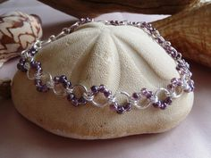Lilac Beaded Cable Chainmaille Anklet  DNA Strand by PJsPrettys, $19.50