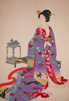 """Artist:Chikanobu Title:Bijin at Chiyoda Castle Series: Medium:Woodblock Print Date:c.1890 Size (HxW): 14"""" x 9.5"""" LOOK at the colors on this print. Very rarely does a print form 1890 keep the colors that this one has. It's amazing. - TSM"""