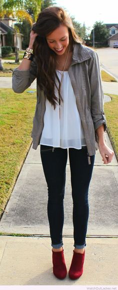Black pants, white tee and grey jacket