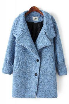 Oblique Buttons Lapel Long Sleeve Tweed Winter Coat