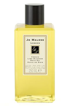 French Lime Blossom Jo Malone Bath Oil | Early summer in Paris. Heady, powdery linden flowers are enlivened with a splash of bergamot and a touch of herbaceous tarragon. Blossom at its most beguiling. For a sumptuous bathing treat, our Bath Oil is enriched with sweet almond, jojoba seed and avocado oils, which are natural conditioners that soothe and hydrate the skin, while sublime fragrances fill the air and scent your skin.