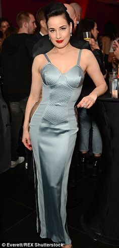 Dita von Teese stuns in plunging grey gown at the Vienna Ball