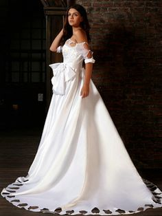 $278.59 Brilliant Princess Satin Off-the-shoulder Flower Court Train Wedding Dresses #Cheap #wedding #dresses #  https://www.facebook.com/ExclusiveWeddingNetworkBlog