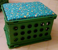 Storage crate seat! This would be an awesome space saver! these would be so cute at school as seats at the kidney table