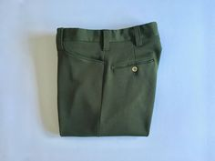 Vintage Men's 70's Disco Polyester Pants, Olive Green, Straight Leg (W31 x L29) by Freshandswanky on Etsy