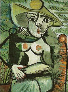 Pablo Picasso - Seated Woman with a Hat 1971 Reproduction Oil Painting
