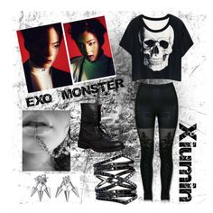 """EXO Xiumin  MONSTER"" by kpop-outfitdesigner ❤ liked on Polyvore featuring MACBETH, Steve Madden, Bling Jewelry and Eva Fehren"