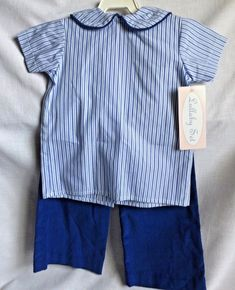 14846a568b6 Lullaby Set Blue and White Pants and Shirt Infant Size 12 Mo Made in USA  New