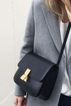 i heart celine. Grey coat & a Celine black box bag. Paris Outfits, Mode Outfits, Fall Handbags, Leather Handbags, Leather Box, Cheap Handbags, 2017 Handbags, Celine Handbags, Burberry Handbags