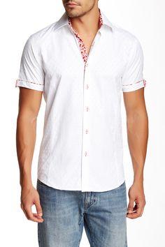 Slim Fit Short Sleeve Jacquard Dress Shirt by TR Premium on @nordstrom_rack