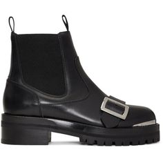 Alexander McQueen Black Lug Sole Chelsea Boots ($1,155) ❤ liked on Polyvore featuring shoes, boots, ankle booties, black, chelsea bootie, leather booties, round toe booties, leather boots and black boots