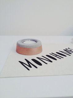 Moderne Kupfer & Beton-Kerze-Halter