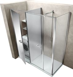 The first and unique shower enclosure collection that offers further opportunities to use at best the bathroom space, in line with new functional and practical needs connected with available space. Next to the shower enclosure, an authentic container to use for storing things or setting up appliances. It's also the perfect aesthetic solution.