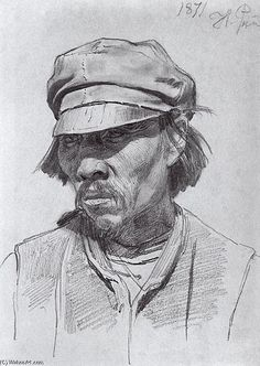 Ilya Repin >> Portrait of a kalmyk