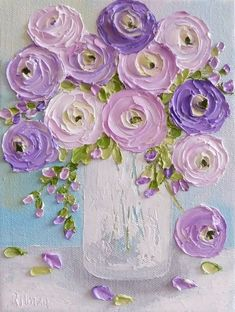 Pinks and Lavender Ranunculus Impasto Painting, Cottage Chic Painting,Impasto Floral painting - art floral Watercolor Art, Art Painting, Impasto Painting, Floral Painting, Floral Art, Abstract Painting, Art, Texture Painting, Canvas Painting