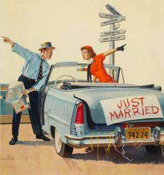 littlebunnysunshine:    GORDON JOHNSON (American, 20th Century). Just Married, American Weekly cover, August 5, 1956