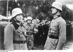 German generals Heinz Guderian and Reinhardt, Karlsbad, Sudetenland, Germany, circa Oct 1938