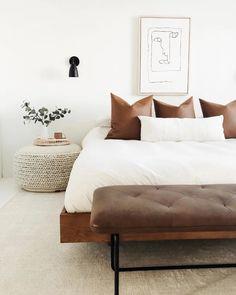 Scandi Living, Modern Living, Bedroom Bed, Bedroom Ideas, Bedroom Benches, Bed Room, A Frame Bedroom, Boho Bed Frame, Master Bedroom