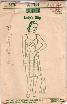 1940s Womens Slip Pattern Pauline 5376 RARE Plus Size Vintage Sewing Pattern Bust 44 inches
