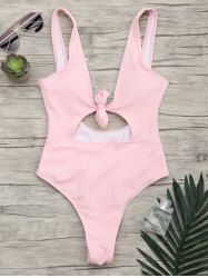 Backless Ribbed Knot One Piece Swimsuit