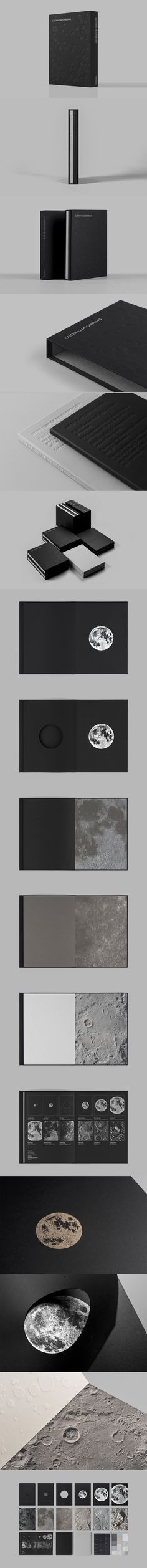Catching Moonbeams. Toby Ng Design. The light of the moon was chosen as a metaphor for Antalis paper printing effects project to promote their black, grey and sliver paper. The project is presented in a set of two volumes within a specially designed moon-textured case.