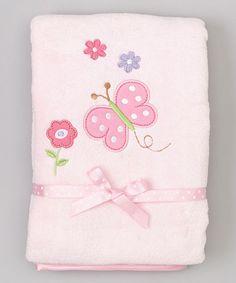 Look what I found on #zulily! 30'' x 40'' Pink Butterfly & Polka Dot Stroller Blanket by SpaSilk #zulilyfinds