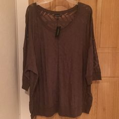 Semi sheer geometric stripe top sz 26/28 Semi sheer top with geometric stripes dark olive green color size 26/28 from Lane Bryant brand new with tags Lane Bryant Tops