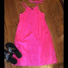 """Adorable J. CREW Sundress/Cover-up!"""" Such a fun style for summer. Bright pink. Adjustable double ties.  Cute eyelet detailing. Fully lined with coordinating fabric. 100% Cotton. Cool, Comfy and CUTE!! J. Crew Dresses"""
