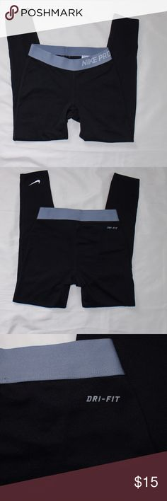 "Nike Pro Compression Black Leggings Sz SM In good shape, Nike Pro compression leggings. Logos shows some cracking. Measurements are taken on leggings laying flat: 28"" outseam, 22"" inseam, & 11"" waist. All reasonable offers considered. Bundle to save even more! Nike Bottoms Leggings"