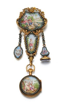 Gold, enamel and diamond watch chatelaine, late 19th century:The chatelaine of two colour gold foliate scroll design, framing enamel plaques depicting a shepherd and shepherdess, accented with rose diamonds, suspending a seal, locket and fob watch, the circular white enamel dial applied with Roman and Arabic numerals, to rose diamond handsVia Sotheby's.