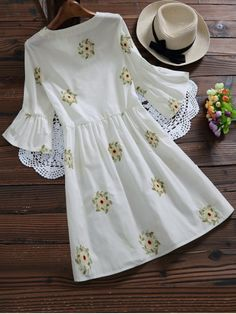 Spring and Summer No Floral Embroidery Round Mini A-Line Causal and Day Casual Floral Embroidered Flare Sleeve Dress Cute Casual Dresses, Stylish Dresses, Simple Dresses, Fashion Dresses, Dresses With Sleeves, Dress Casual, Sleeve Dresses, Midi Dresses, Prom Dresses