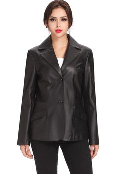 "BGSD Women's ""Angie"" Two Button Leather Blazer. Check out this great style for $119.99 on Luxury Lane. Click on the image above to get a coupon code for 10% off on your next order."