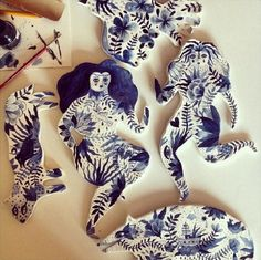 Aitch's flattened, stylized depiction of animals and women focus a lot of decorative surface design. Her illustrative sensibilities translate well to clay. Ceramic Clay, Porcelain Ceramics, Ceramic Pottery, Porcelain Tiles, Porcelain Jewelry, Fine Porcelain, Illustrations, Illustration Art, Cerámica Ideas