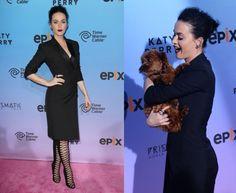 The Prismatic World Tour : Ultra sexy, Katy Perry a du chien !Hier Katy Perry était parfaite pour la première du film de sa tournée The Prismatic World Tour.  Une chic robe noire portée avec des bottes à lacets et accessoirisée avec plein de bijoux, la star pop était tout simplement irrésistible, tout comme Butters son adorable chien, avec elle sur le tapis rouge pour l'occasion. Des échanges très sympas avec ses fans, des selfies bien sûr, en bref un moment de promo totalement réussi !