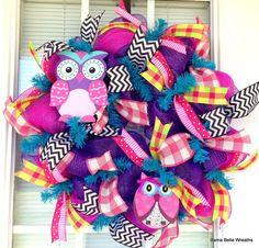 Owl wreath summer wreath spring wreath by BamaBelleWreaths on Etsy, $75.00