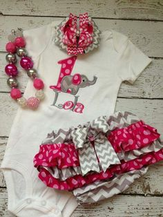 1st Birthday outfit add some leg warmers! Would be cute as Minnie Mouse instead of elephant