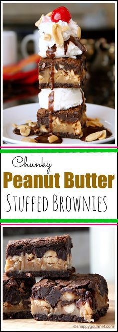 Chunky Peanut Butter Stuffed Brownies Recipe - fudgy brownie recipe with peanuts and dark chocolate | SnappyGourmet.com