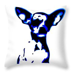 Pup Art Chihuahua Blues decorative throw pillows designer pillow decorator couch cushions pet cushion dog art home decor 14x14 26x26 animal by HeatherJoyceMorrill on Etsy