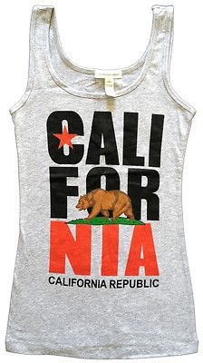 California Republic Womens Tank Top Shirts Cali State Flag Bear Los Angeles