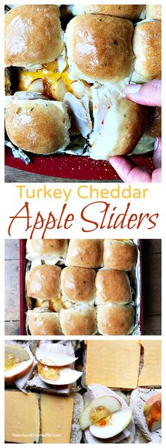 These Turkey Cheddar Apple Sliders are a delicious snack, lunch, dinner, or potluck dish to bring to a game day or holiday party! Watch the video how to make this delicious snack! Potluck Dishes, Food Dishes, Main Dishes, Yummy Snacks, Yummy Food, Slider Sandwiches, Deli Sandwiches, Sandwich Recipes, Crockpot