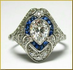 """sapphire ring diamond in """"Vintage and Antique Victorian, Edwardian Fine Jewelry"""" Royal Jewelry, I Love Jewelry, Art Deco Jewelry, Fine Jewelry, Antique Rings, Antique Jewelry, Vintage Jewelry, Vintage Rings, Diamond Solitaire Rings"""