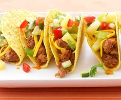 Pineapple salsa adds a sweet and sassy zing to these Italian sausage tacos. I would probably use mild sausage.