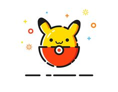 Pikachu designed by leerltx. Connect with them on Dribbble; Pikachu Tattoo, Pikachu Drawing, Simple Illustration, Digital Illustration, Icon Design, Logo Design, Flat Design, Round Design, Pokemon Fan