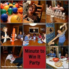 Minute to Win It Party - great ideas for the family