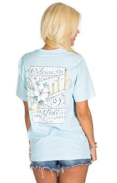 """LJ Spring 15 sweet tee sneak peek! """"Welcome to the South Y'all"""" coming this February in light blue, pink, mint and lavender! #laurenjames #sweettees #LJspring15"""