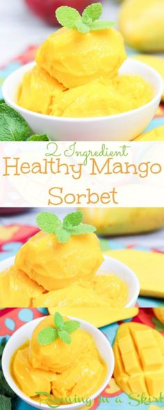 2 Ingredient Healthy Mango Sorbet recipe. This easy and delicous sorbet is made in a blender or food processor.  It's vegan and dairy free using coconut milk and frozen fruit.  Tastes like a tropical dream!  | Running in a Skirt